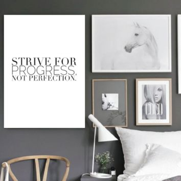 "Motivational Quote Poster ""Strive for Progress, Not Perfection"" Home Office Dorm Decor"