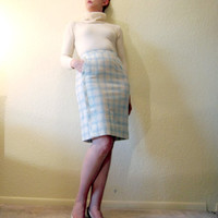 Mid Century Pencil Skirt. Scalloped Pocket. Blue & White Plaid.  Size S.
