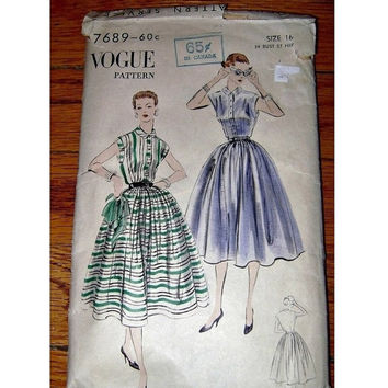 FAB 50's VOGUE Dress Pattern Vintage Fifties Sleeveless Cocktail Garden Party Dress Full Puffy Skirt 1950s Fashion Sewing Ephemera Pattern