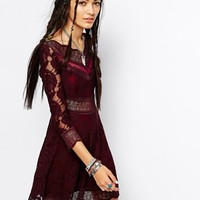 Free People Mini Dress in Lace Mesh