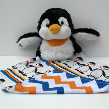 Penguin Critter Blanket,Lovey Blanket, Baby Blanket, Animal Blanket,Security Blanket, Stuffed animal Blanket