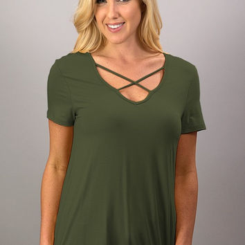 Criss Cross Top - Olive
