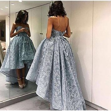 Sexy Hi Lo Lace A Line Evening Dress 2017 Hand Made Flowers Sleeveless Sweetheart Neckline New Arrival Prom Dresses Hot Sale
