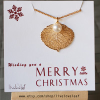 Christmas gift ideas- 24K Gold dipped Aspen Leaf necklace with pearl Wedding Jewelry Gifts bridal party bridesmaids Stocking Stuffer