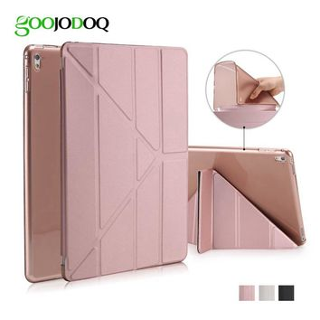 GOOJODOQ For iPad Pro 9.7 inch For iPad Air 2 Case PU Leather Smart Cover 5 Shapes Stand Soft TPU Silicon Auto Sleep/Wake