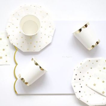 Paper Gold/White Party Set