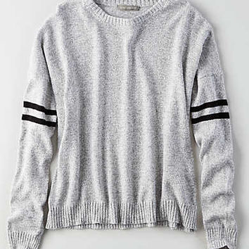 Don't Ask Why Striped-Sleeve Sweater, Stone Gray
