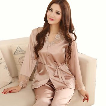Women 2 Piece Silk Pajama Set With Ribbon tie And Lace Detailing