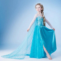 Luckydays! 2015 Hot Baby girls Anna and Elsa coronation party princess dresses for Christmas,Autumn Winter Kids clothing