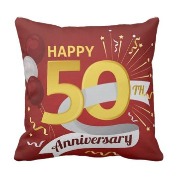 Happy 50th Anniversary Throw Pillow