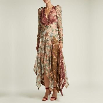 Elegant  Floral Print Boho Lace Sexy Deep V-Neck Maxi Dress