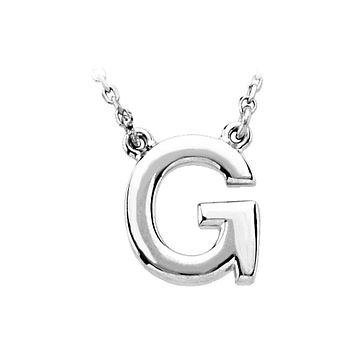 Block initial Necklace in 14k White Gold, Letter G