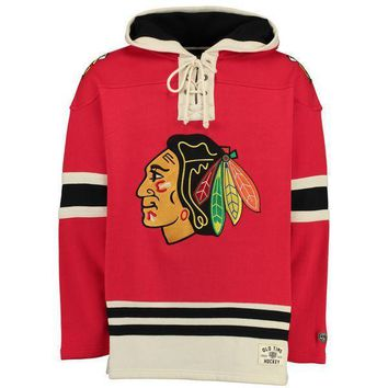 Men's Chicago Blackhawks Old Time Hockey Red Lacer Heavyweight Pullover Hoodie