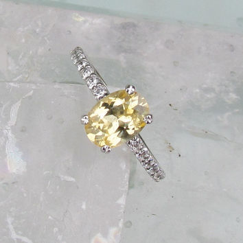 Pale Yellow Sapphire Diamond Accented Engagement Ring in 14k White Gold Yellow Diamond Alternative Weddings Gemstone Jewelry