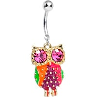 Pink Cubic Zirconia Wise Eyes Rainbow Owl Dangle Belly Ring | Body Candy Body Jewelry