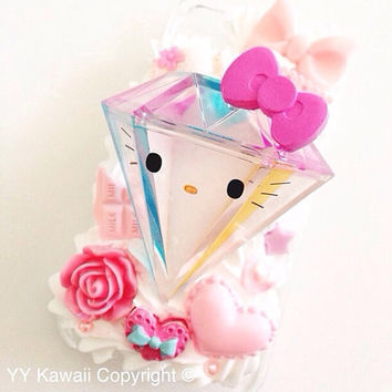 Kitty vs tokidoki diamond kawaii decoden phone case for iPhone 4/4s, 5, Samsung Galaxy S2 S3 S4, iPod touch, HTC One