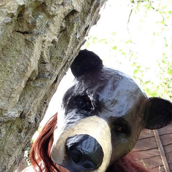 Bear Mask/ Animal Mask/Paper Mache mask/Papier Mache mask /Original / black bear/ masquerade