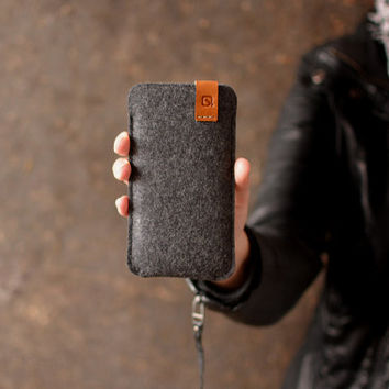 iPhone 6 Plus case NEW iPhone 6 case sleeve wallet cover dark grey merino wool felt full grain tan leather