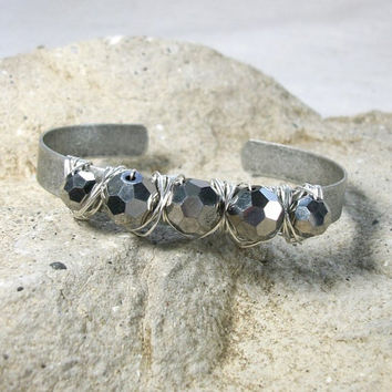 Cuff bracelet, gift under 20,Wire wrapped  antiqued silver cuff.  Flashy gray crystals wrapped with silver wire wire wrapped bracelet