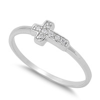 925 Sterling Silver CZ Jesus Christ Sideway Cross Ring 5MM