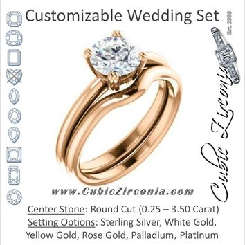 CZ Wedding Set, featuring The Venusia engagement ring (Customizable Round Cut Solitaire with Thin Band)