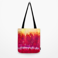 Red Trees Abstract Landscape Tote Bag by Jennifer Warmuth Art And Design