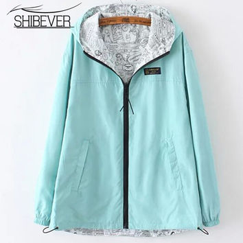 SHIBEVER Women jackets solid color hooded simple female coats with zippers basic jacket coat casual style chaquetas mujer jtj378