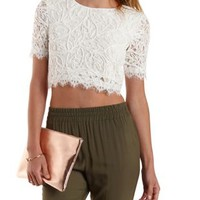 White Lace & Crochet Cropped Tee by Charlotte Russe