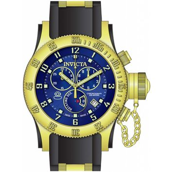 Invicta 15563 Men's Russian Diver Chronograph Blue Dial Rubber & Steel Strap Dive Watch