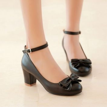 Women Sweet Cute Round Toe Block Mid Heel Bowknot Ankle Strap Mary Jane Shoes