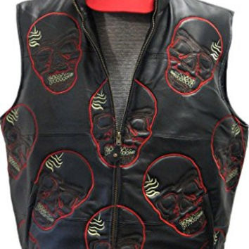 Mens Genuine Leather Vest, Unique Skull Embroidery Design, Padded & Front Zip