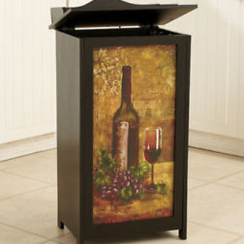 Decorative Wooden Trash Bin Wine Tuscan Theme Design Kitchen Bar New