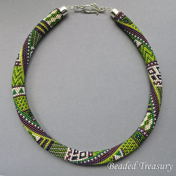 """Pattern for bead crochet necklace """"Summer In Provence"""" / Bead crochet pattern / Crochet rope pattern / Purple, lime green / PATTERN ONLY"""