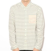 Oliver Spencer Overshirt Bolan Cream/Navy | Free UK Shipping and Returns