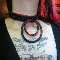 Harlequin- Genuine Leather Glitter Black and Red BDSM Bondage Spiked O Ring Collar
