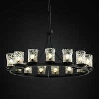 Justice Design Group GLA-8715-16-CLRT-MB Veneto Luce Dakota Fifteen-Light Ring Chandelier