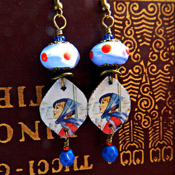 Blue Red Boho Lampwork earrings Vintage Tin Bohemian earrings Hippie Gypsy dangles Boho Chic Artisan Jewelry