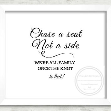 "Printable Wedding Seating, ""Choose A Seat"", Wedding Decor, Seating Arrangement,  Welcome Seating Sign, Wedding Signage, Instant Download"