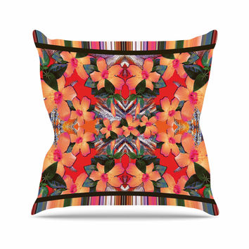 "Nina May ""Striped Alohas"" Orange Outdoor Throw Pillow"