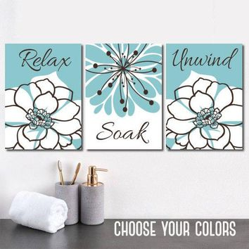 Blue Bathroom Decor, BATHROOM Relax Soak Unwind, Bathroom Quote Aqua Blue Brown BATHROOM Wall Art, CANVAS or Prints, Set of 3 Bathroom Decor