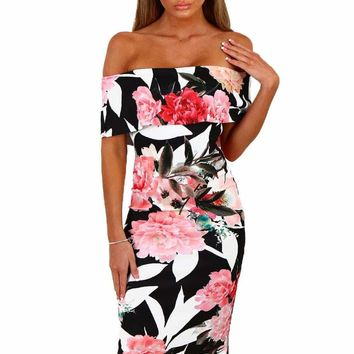 Black Multi Floral Bardot Bodycon Midi Dress