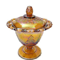 Vintage Indiana Carnival Glass, Gold Harvest Lace Edge Candy Dish Box
