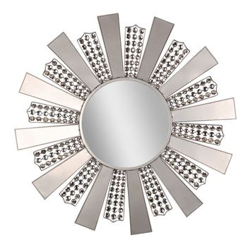 Jeweled Art Deco Sunburst Wall Mirror (Grey)