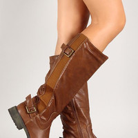 Goring Accent Double Buckle Knee High Boot Color: Tan, Size: 6