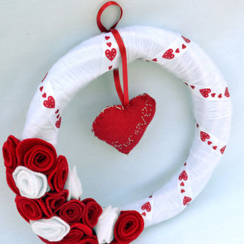 Hearts and flowers forever yarn felt wreath, decoration, wedding gift, valentines day decor