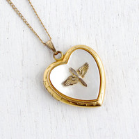 Vintage Military Heart Locket Necklace - 1940s Gold Filled Faux Mother of Pearl Sweetheart Historical Jewelry