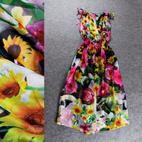 Halter Spring Flower Wrap Neck Elastic Waist Dress
