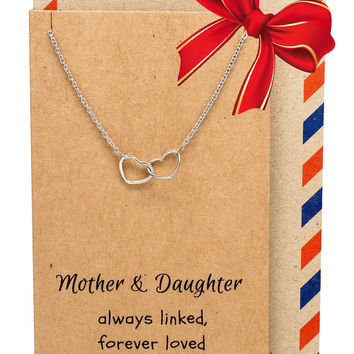 Stella Mother & Daughter Necklace with Two Interlinked Hearts Pendant