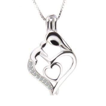 925 Sterling Silver Pearl Cage Pendant Mother's Day