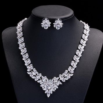 Marquise Shape Full Blue Red CZ Necklace Earring Wedding Crystal Jewelry Sets For Brides